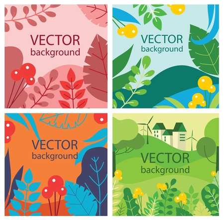 Vector background, leaves and flowers for banners.