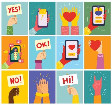 Super set of illustrations of hand holding smartphone. 向量圖像