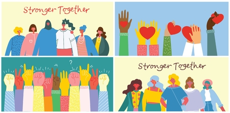 Stronger together illustration set.