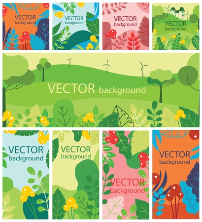 Vector abstract floral eco herbal background.