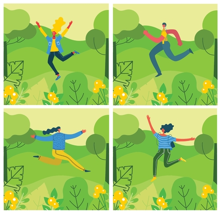 Vector Nature ECO backgrounds with girls and boy.