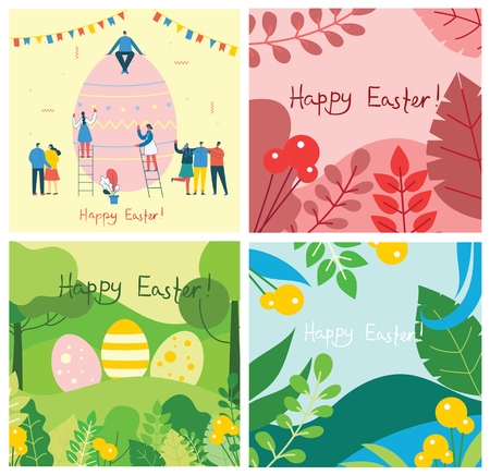 Happy Easter cards in the flat design.