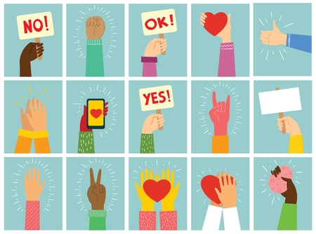 Vector illustration of different hands up. 向量圖像