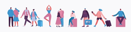Vector illustration of different activities people. Ilustração