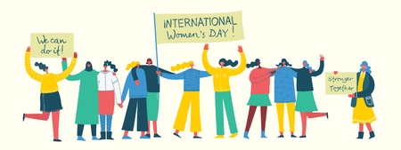 Colorful vector illustration of Happy Womans internarional day.