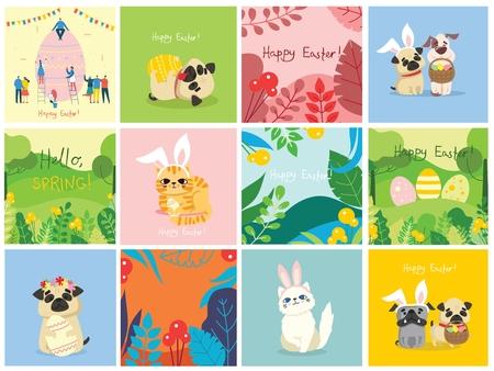Happy Easter card in the flat design. Ilustração