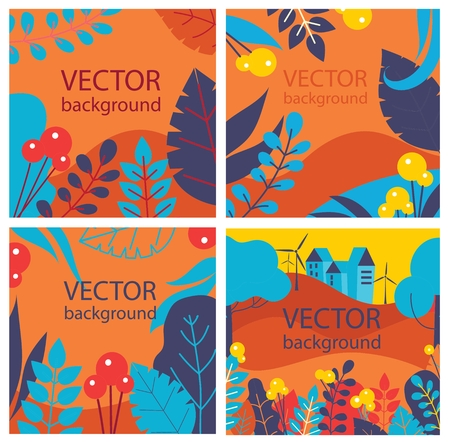Vector abstract background, set flowers for banners