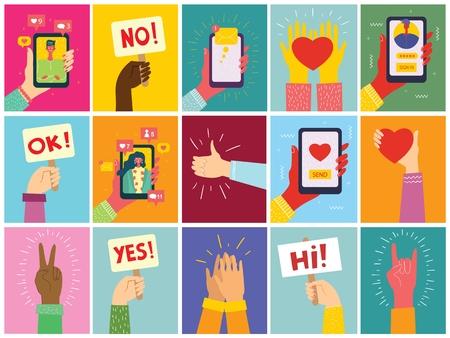 Super set of illustrations of hand holding smartphone. Ilustração
