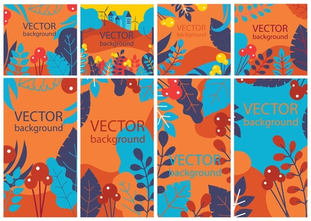 Vector set with spring or summer leaves.