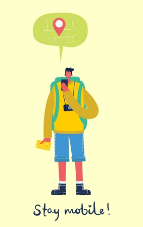 Vector illustration of young man character. 向量圖像