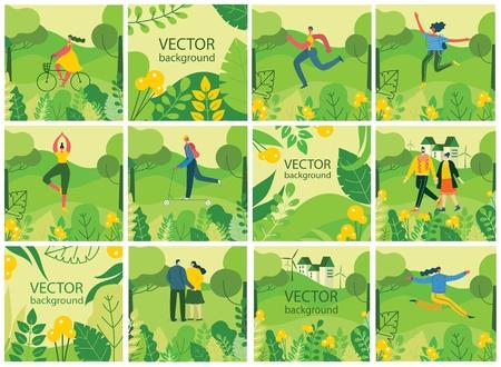 Vector Nature ECO backgrounds with girls and boys. Ilustração
