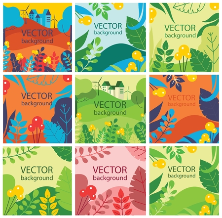 Vector abstract herbal background set with spring leaves.