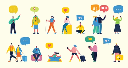 Vector illustration of a group of young people.