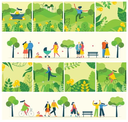 Vector Nature ECO backgrounds with girls and boys. 向量圖像