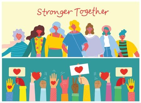 Stronger together illustration set.