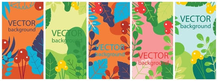 Vector abstract herbal background set with spring.