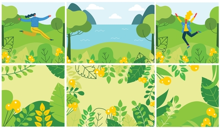 Vector Nature ECO backgrounds with girls.