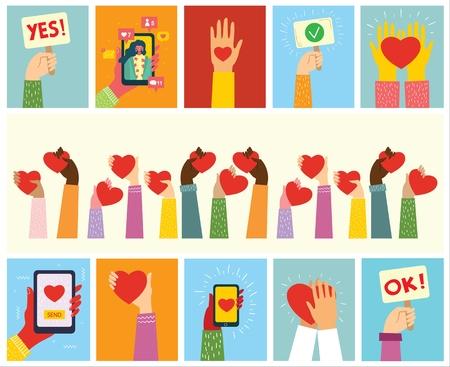 Hands with hearts as love massages. Ilustração