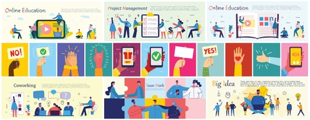 Vector illustrations of the office business people. 向量圖像
