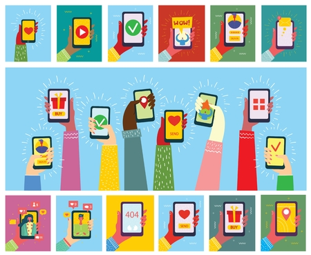 Set of illustrations of hand holding a smartphone. 向量圖像
