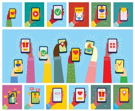 Set of illustrations of hand holding a smartphone. Ilustração