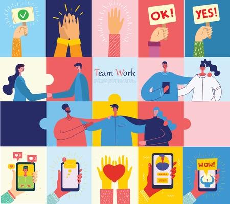 Vector illustrations of the office business people. Ilustração