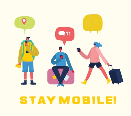 Stay mobile in travel. 向量圖像
