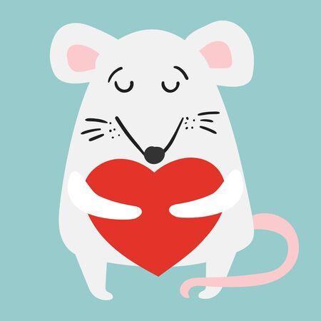 Vector illustration card little Valentine mouse