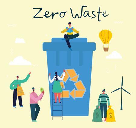 Vector illustration of Concept of Zero Waste Ilustração