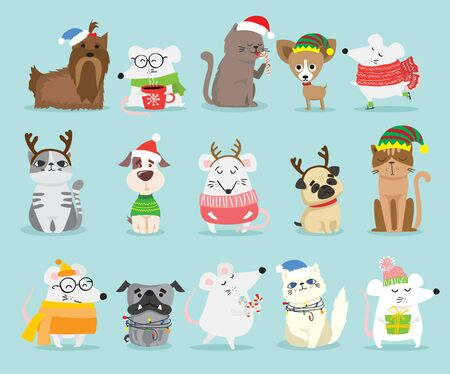 Cute pets with holiday hats and presents.