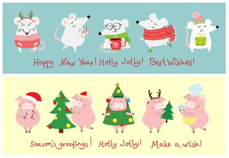 New year and Christmas background with rat