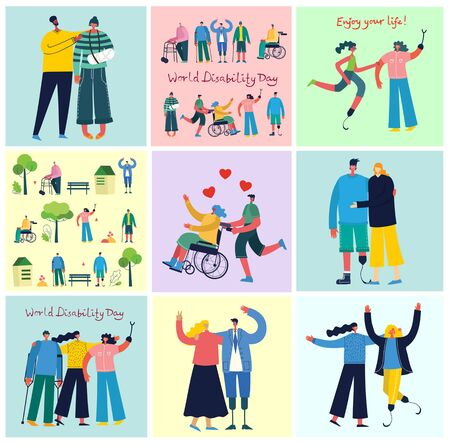Vector background with disabled people.