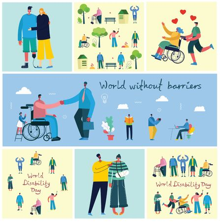 World without barriers. Flat cartoon characters. Illustration