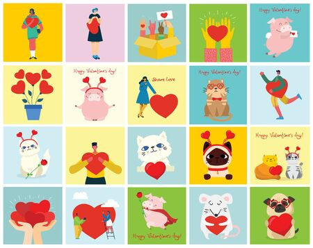 Animals and people with hearts as love massages. Standard-Bild - 133335242