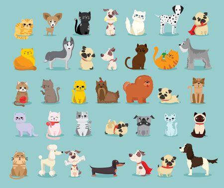 Diferentes razas de perros y gatos. Ilustración de vector
