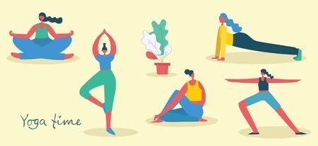 Vector illustration concept of women doing yoga.