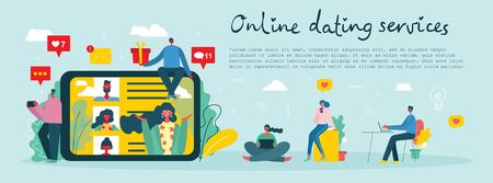 Vector illustration concept of online dating services.