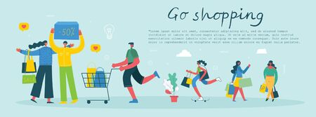 Shopping concept for website and mobile development. 일러스트