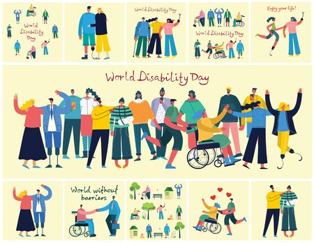 Vector backgrounds with disabled people.
