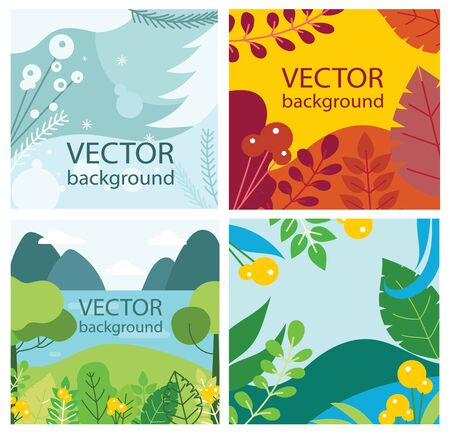 Vector eco background set with season leaves and flowers