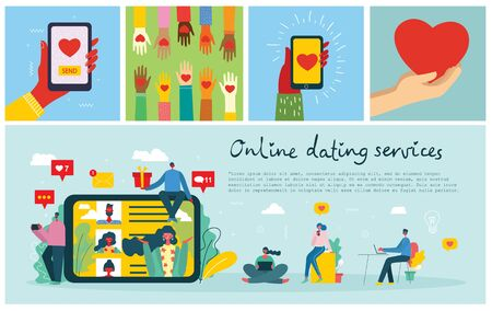 Vector illustration concept of online dating services
