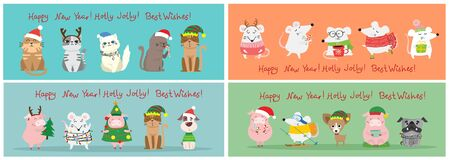 Christmas and new year greetings. 일러스트