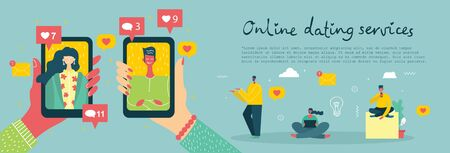 Vector illustration of online dating services. 일러스트