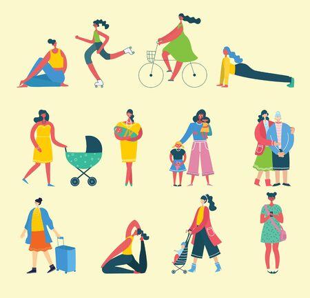 Group of happy female friends, mothers in flat design. Vector Illustratie