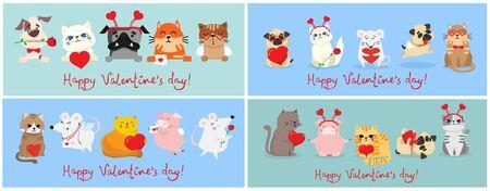 Happy valentine's day with animal  illustration Foto de archivo - 134555447