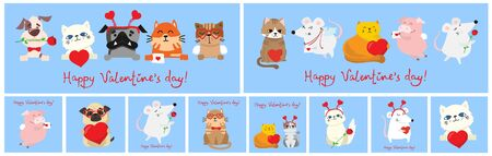 Happy valentine's day with animal  illustration Foto de archivo - 134555630