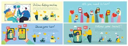 Vektor-Illustration-Konzept von teilen Sie Ihre Liebe.