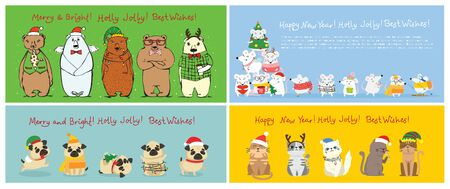 Cute pets with holiday hats Stock Vector - 137443089