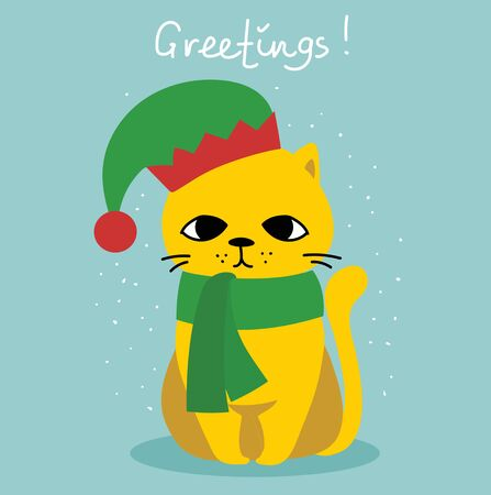 Cute pet in holiday hats. Stock Vector - 137552572