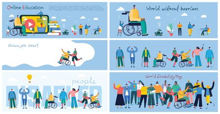 World Disability Day. Flat cartoon characters.